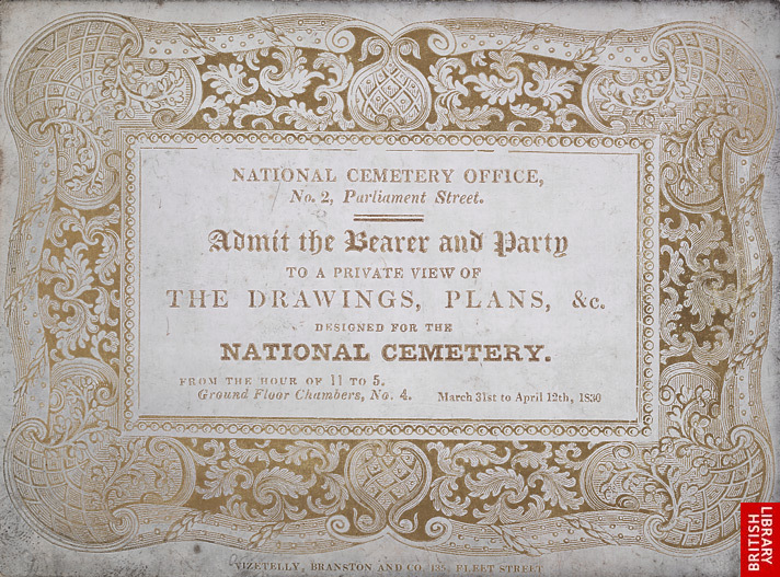 Ticket for a private view of drawings for the National Cemetery Office